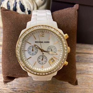 Michael Kors Watch Cream Gold Rhinestones